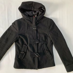 H&M black Peacoat toggle jacket with hood